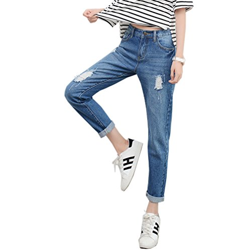 9320c5bd65cec RieKet Skinny Distressed Pants high Waisted Juniors Slim Boyfriend Jeans  Women at Amazon Women s Jeans store