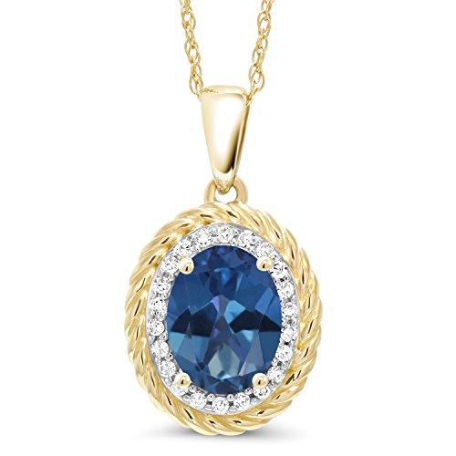 Gem Stone King 1.45 Ct Oval Blue Mystic Topaz White Diamond 14K Yellow Gold Pendant ()