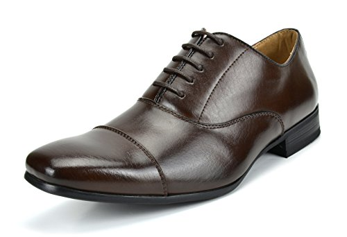 Bruno Marc Men's Gordon-06 Dark Brown Classic Modern Formal Oxfords Lace Up Leather Lined Cap Toe Dress Shoes - 8.5 M US