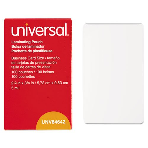 Universal UNV84642 100 per Box Clear Laminating Pouches, 2 1/4-Inch x 3 3/4-Inch - 1 Pack