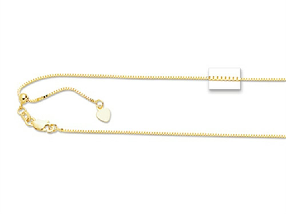 14K Yellow Gold 22 Inch bright-cut Adjustable Box Chain Necklace with Lobster Clasp and Small Heart Charm