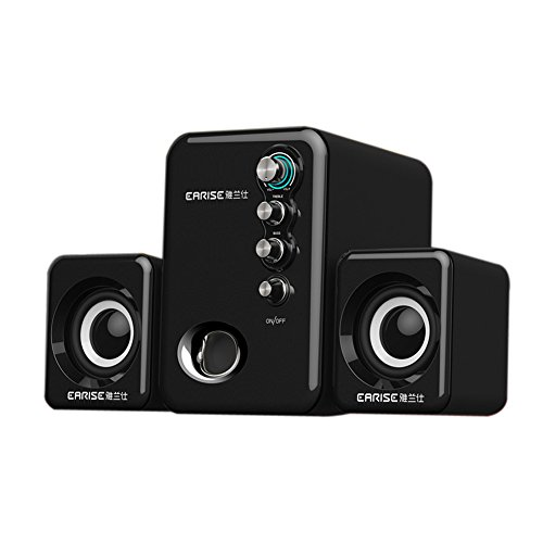 EARISE Q8 USB Powered 2.1 Stereo Computer Speakers with Subwoofer Black (Compute Speaker)
