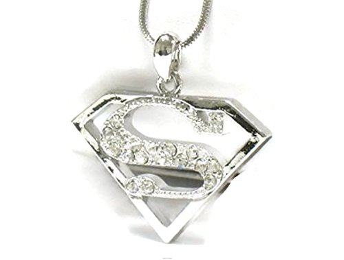 """Stainless Steel Crystal Superman Necklace 16"""""""