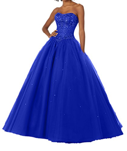 Royal Traegerlos Romantisch Abiballkleider Damen Abschlussballkleider Perlen Fuchsia Promkleider Abendkleider Blau Charmant qPHwzxx
