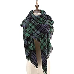 CHERRY CAT Designer Plaid Scarf Oversized Blanket Ladies Tartan Wrap Shawl (Green Mixed)