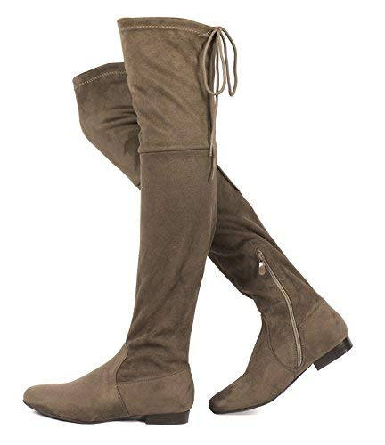 DREAM PAIRS Women's Pauline Khaki Faux Suede Over The Knee Boots Size 10 M US ()