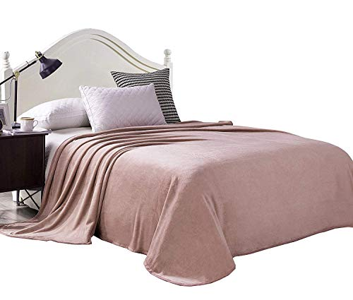 Exclusivo Mezcla Luxury Twin Size Flannel Velvet Plush Solid Bed Blanket as Bedspread/Coverlet/Bed Cover (90 x 66, Pink) - Soft, Lightweight, Warm and Cozy