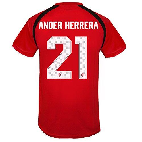 (Manchester United FC Mens Herrera 21 Poly Training Kit T-Shirt Red)