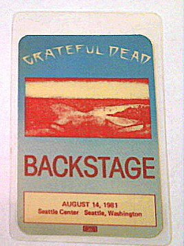 1981 8/14 Grateful Dead Backstage Pass Seattle, WA Large