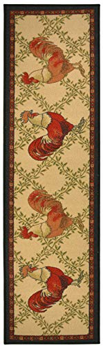 (Kitchen Collection Rooster Beige Multi-Color Printed Slip Resistant Rubber Back Latex Contemporary French Country Kitchen Runner Area Rug (Rooster, 23