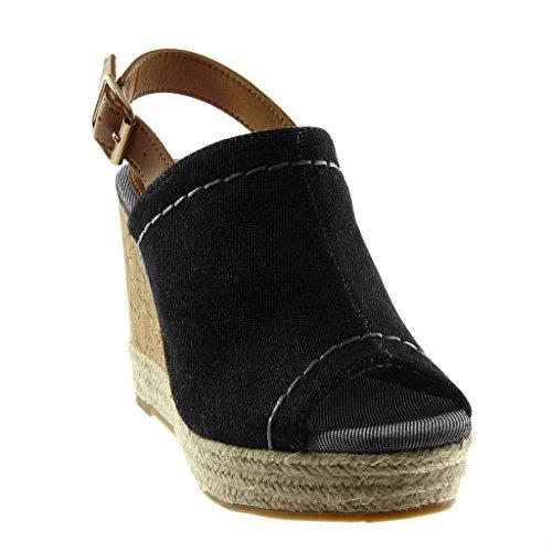 bff83d652575e7 Angkorly Chaussure Mode Mule Sandale Peep-Toe Plateforme Lanière Cheville  Femme Corde Tréssé Liège Talon
