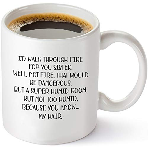 I'd Walk Through Fire For You - Funny Sister Gifts From Sister - Birthday Gift Ideas For Worlds Best Sister - 11 oz Coffee Mug Tea Cup White