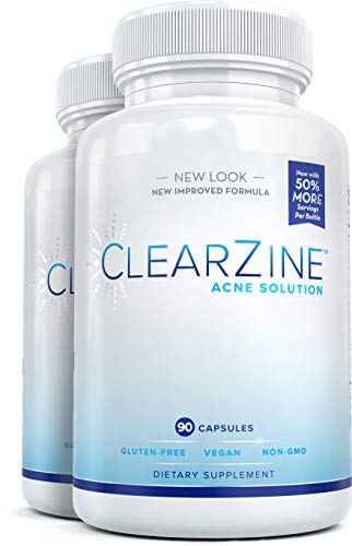ClearZine Acne Pills for Teens & Adults (2 Bottles)   Clear Skin Supplement, Vitamins for Hormonal & Cystic Acne   Stop Breakouts, Oily Skin with Milk Thistle, Pantothenic Acid & Zinc, 90 Caps Each