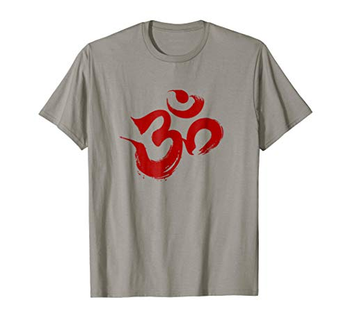 Deep Red Om Symbol Yoga Tee Shirt ()