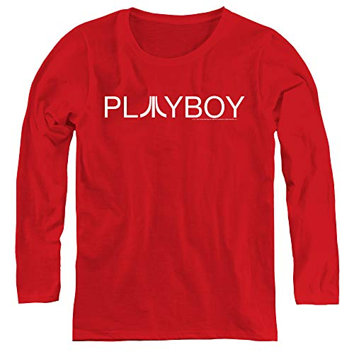 Atari Playboy Adult Long Sleeve T-Shirt for Women, Large Red