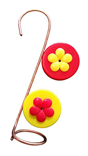 Nectar DOTS Copper Single Hanging Hummingbird Feeder With Red and Yellow Lids For Sale