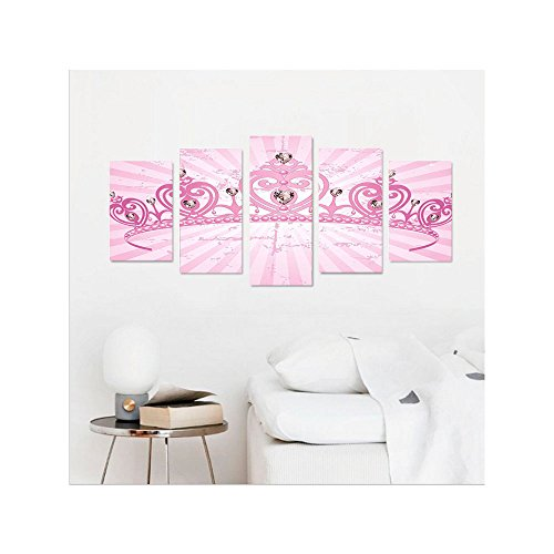 Liguo88 Custom canvas Queen Childhood Theme Pink Heart Shaped Princess Crown on Radial Backdrop Girls Room Wall Hanging for Bedroom Living Room Pink Light Pink
