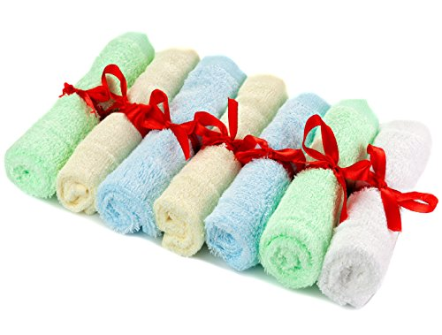 Adovely Baby Washcloths Soft 100% Bamboo Towels - Bath Gift Set - 7 Pack