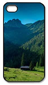 iPhone 4S Case and Cover -House In The Mountains PC case Cover for iPhone 4 and iPhone 4s ¡§CBlack