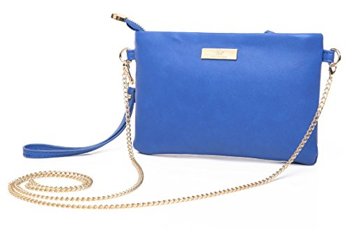 (Aitbags Soft PU Leather Wristlet Clutch Crossbody Bag with Chain Strap Cell Phone Purse,Blue)