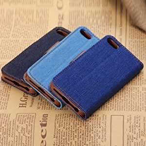 Denim Design PU Leather Stand Case With Card Holder For iPhone 5C --- Color:Black -Big Paw Trading