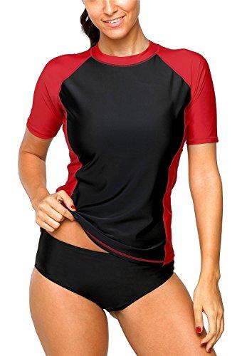 (ALove Women's Surf Rash Guard Colorblock Swim Shirt Tops Short Sleeve Red XXL)