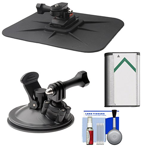 Essentials Bundle for Sony Action Cam HDR-AS50, AS200, AS300, FDR-X1000V & X3000 Camcorder with Car Suction Windshield & Dashboard Mounts + Battery + Cleaning Kit (Sony As30v Accessories)