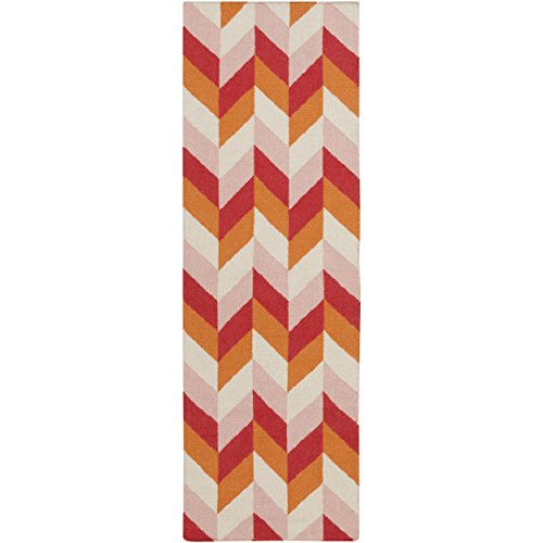 Surya TAL1001-268 Hand Woven Geometric Runner, 2-Feet 6-Inch by 8-Feet, Burnt Orange/Cherry/Salmon/Beige - 8' Runner Salmon