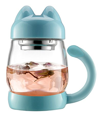 Cute Cat Tea Mugs   Bzy1 420 Ml   14 Oz Portable Glass Tea Cup With A Lid And Strainer   Heat Resistant Mugs Gift  Blue