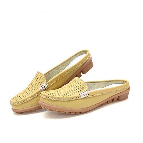 Mocassin pour CCZZ Cuir Femmes Jaune Flats Chaussures Loafers Pantoufles de Confortables Chaussures Bateau Plates wqwUTIt6