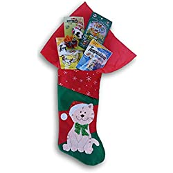 Holiday Kitty Stocking Filled with Cat Treats - Catnip, Toy Mouse, Tempations Treats