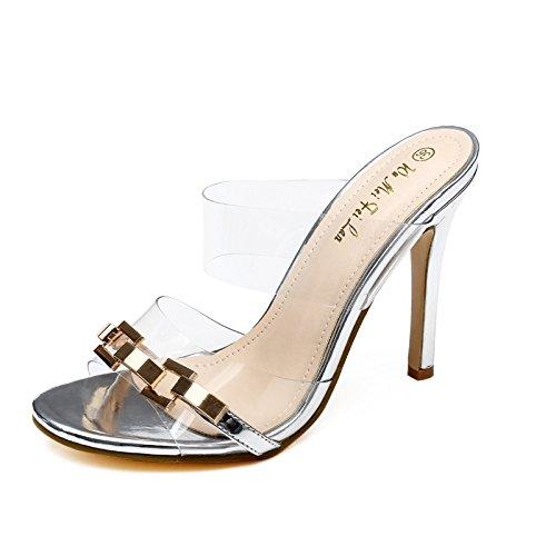 con sandali e sandali UE trasparenti silvery alto RUGAI sandali tacco pantofole Signore vztzqawf