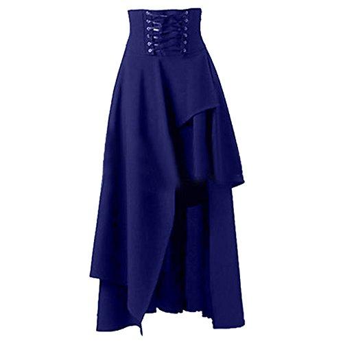 Robe Irrgulire Soire Gothique Bande de Marine Sfit Bleu Robe Jupe Longue Robe Lolita Femme wCFPwq0Xxa