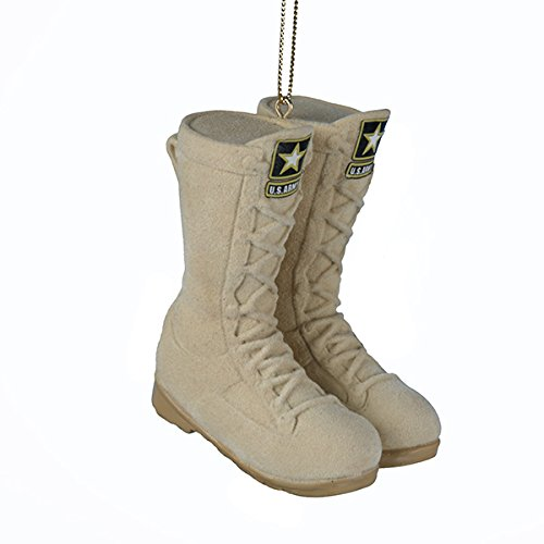 Kurt Adler 3 '' U.S. Army Flocked Combat Boots Christmas Ornament, Ivory