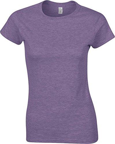 Gildan Softstyle camiseta de hilado y para mujer adultos S-Sleeve de algodón Jersey Top morado (Heather Purple)