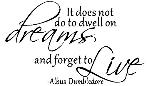 byyoursidedecal It Does not do to Dwell on Dreams Forget to Live Albus Dumbledore Vinyl Wall Decal,Art Quotes Inspirational Sayings 11.5