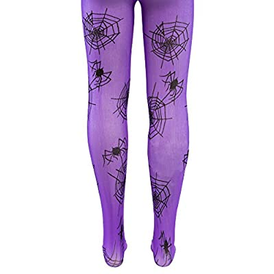 Purple Mid-Rise Spider Webs Halloween Children's Cosplay Costume Tights: Clothing