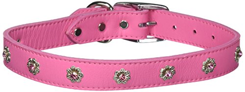 OmniPet Leather Brothers 24-Inch Signature Leather Filigree Crystal Collar, Large, Pink