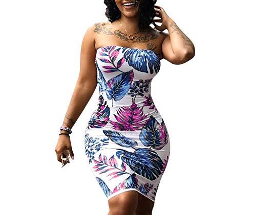 Glittering time New Sexy Women Print Sleeveless Bodycon Dress Off Shoulder Bandage Summer Dress Beach Party Mini Dress,Blue,M ()