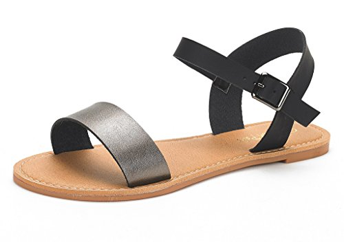 (DREAM PAIRS HOBOO Women's Cute Open Toes One Band Ankle Strap Flexible Summer Flat Sandals New Black Pewter Size 8)