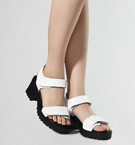 Sommersandalen/Klobige Heels Plateauschuhe/High-Heel aus echtem Leder Frauen Schuh-weiß Fußlänge=23.3CM(9.2Inch)