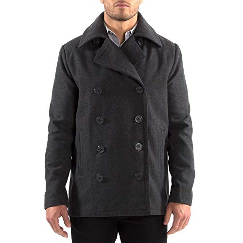 Alpine Swiss Mason Mens Wool Blend Classic Pea Coat Gray XL