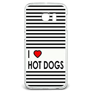 I Love Heart Hot Dogs Snap On Hard Protective Case for Samsung Galaxy S6 Edge