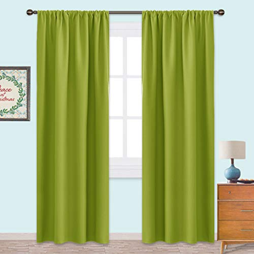 NICETOWN Blackout Curtains Panels for Living Room - Thermal Insulated Solid Rod Pocket Top Blackout Curtains/Drapes for Kid's Room (1 Pair,42 x 84 Inch,Fresh Green) (Drapery Lime Panels Green)