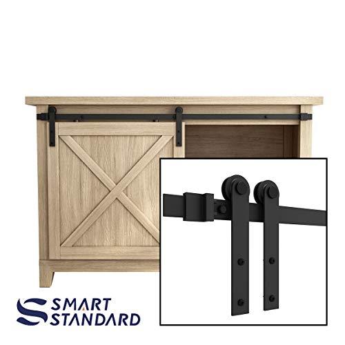 SMARTSTANDARD 4FT Super Mini Sliding Barn Door Hardware Track Kit -Smoothly and Quietly -for Cabinet, TV Stand, Closet, Window -Fit 24″ Wide Door Panel -I Shape Hanger (NO Cabinet)