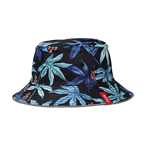 Exlura Unisex Bucket Hat Reversible Fisherman Hat Plant Printed Solid Color Outdoor Sun Hat Packable