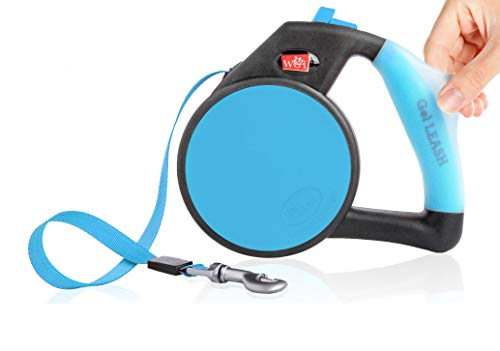 Dog Leash - Retractable Gel Pet Leash - World's Most Comfortable Handle - Blue Small
