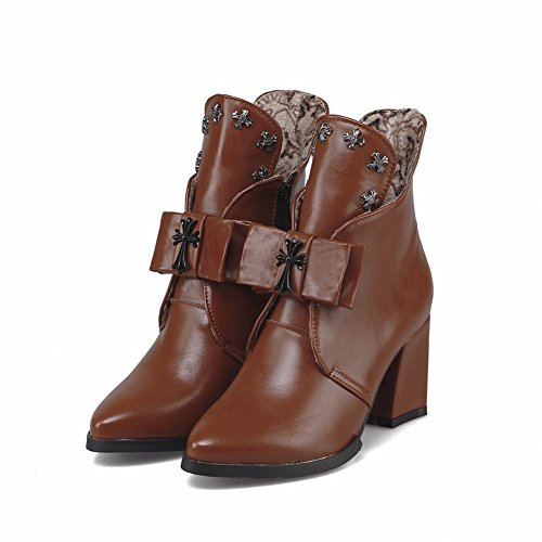Carolbar Womens Zipper Bows Cross Shaped Pattern Studded Decoration High Chunky Heel Short Boots Brown 59lPYz