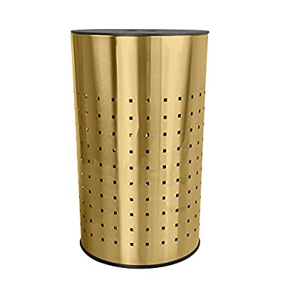 Brushed Gold Laundry Bin & Hamper | 50L Ventilated Stainless Steel Clothes Basket with MDF Lid | Life Time Warranty| - | TARNISH RESISTANT GOLD FINISH | Solid Stainless Steel Construction | | WATERPROOF MDF Lid Allows Easy Access Lid keeps contents discreetly from view| | VENTILATED WATER RESISTANT SS Body Allows The Laundry To Breath | - laundry-room, hampers-baskets, entryway-laundry-room - 41%2BgA0W9usL. SS400  -