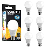 Duracell LED B22 Frosted Light Bulbs, 9 W (60 W) 806 lumens - Warm White, Pack of 6